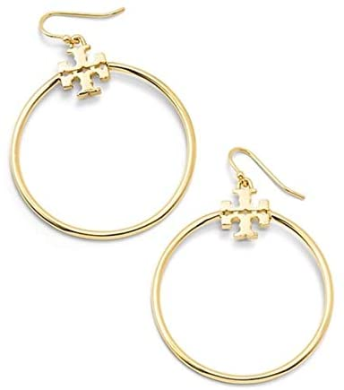 Tory Burch Stacked T Logo Hoop Earrings