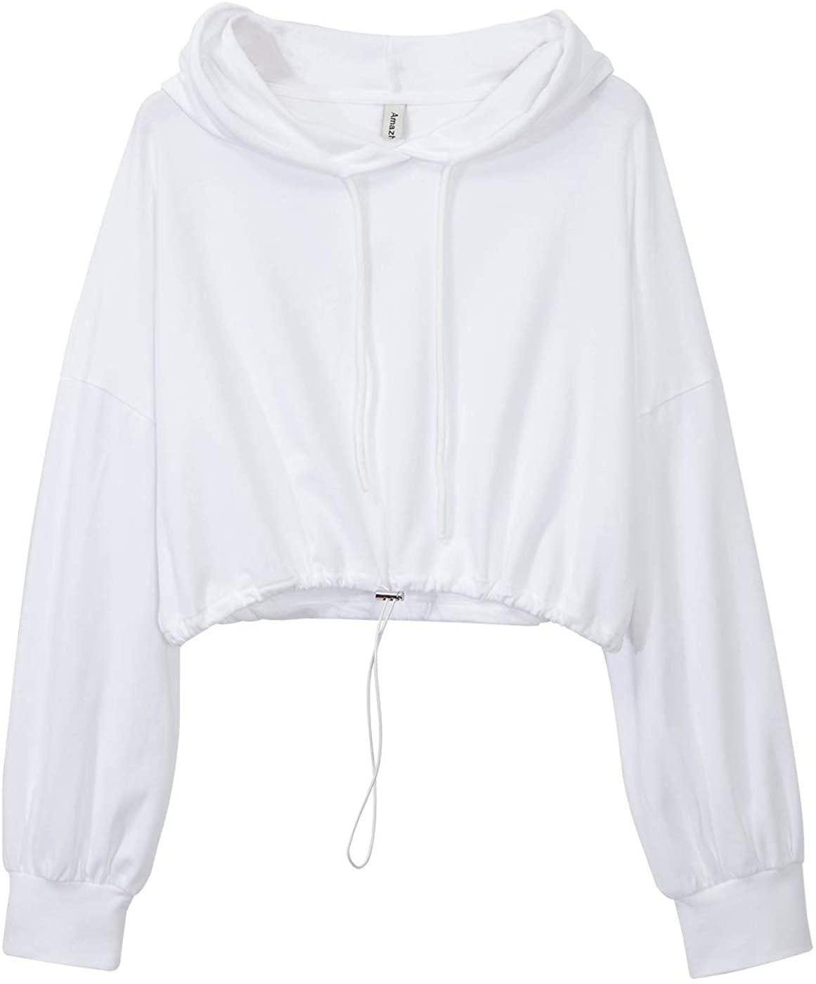 Amazhiyu Womens Cropped Hoodies Long Sleeve Drawstring Pullover Hooded Sweatshirt Casual Loose Crop Top