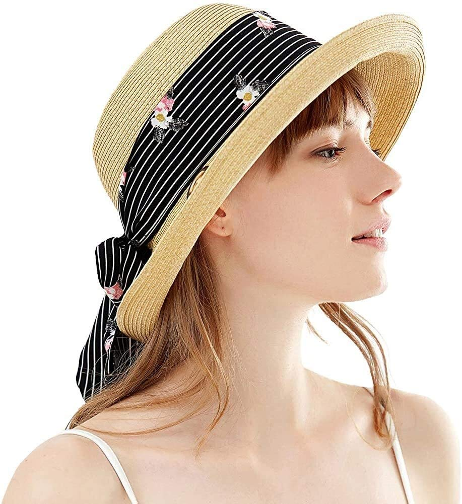 Ladies Fashion Flower/Bowknot Bucket Sun Hat, Summer Wide Brim Beach Hat Can Be Packaged for Women (Color : 99336-Beige)