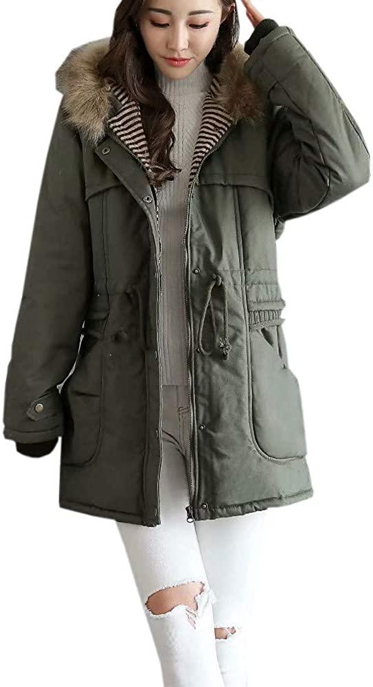 Kangma Women Winter Fleece Long Sleeve Hooded Outdoor Wind Warm Zip Pocket Jacket Coat
