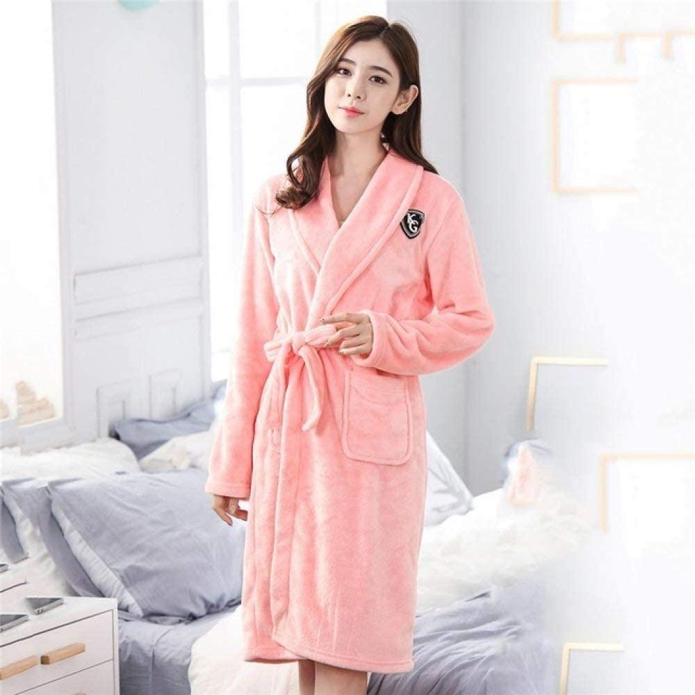 llwannr Robe Nightgown Sleep,Elegant Solid Men Flannel Homewear Bath Gown Winter Casual Soft Kimono Robe Gown Keep Warm Lovers Sleepwear Nightdress Plus Size,Women7,L