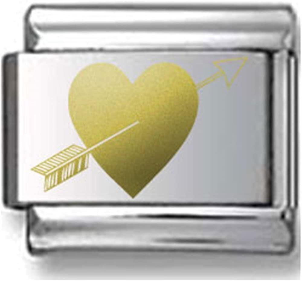 Heart with Arrow Gold Laser Italian Charm