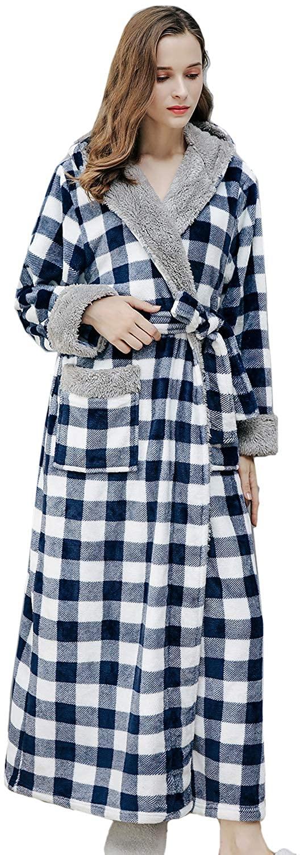 CHENXI Women Classic Plaid Printed Soft Warm Robes Fluffy Fleece Hooded Dressing Gown Full Long Bathrobe