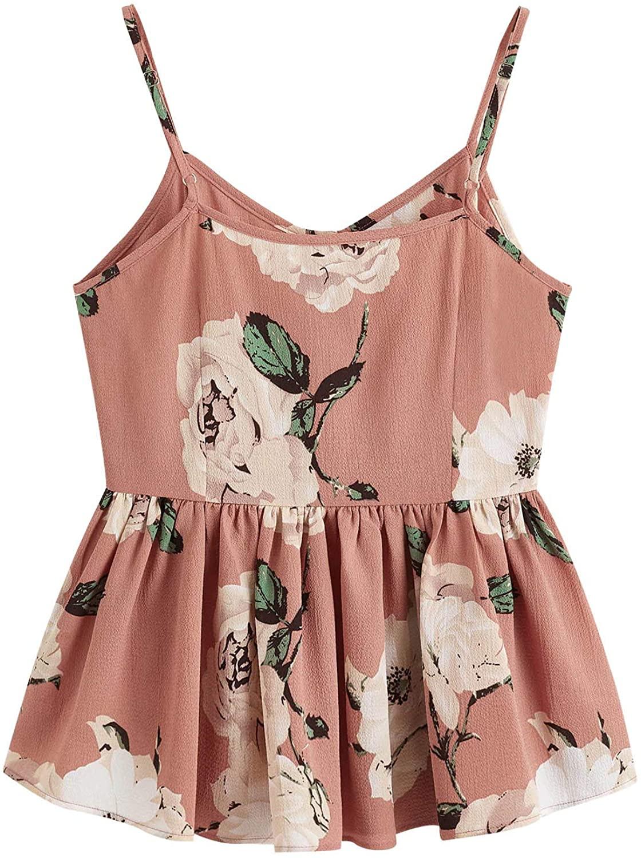 SweatyRocks Women's Casual Floral Print Ruffle Hem Racerback Cami Top