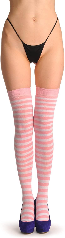 Pink & White Stripes - Over The Knee Socks