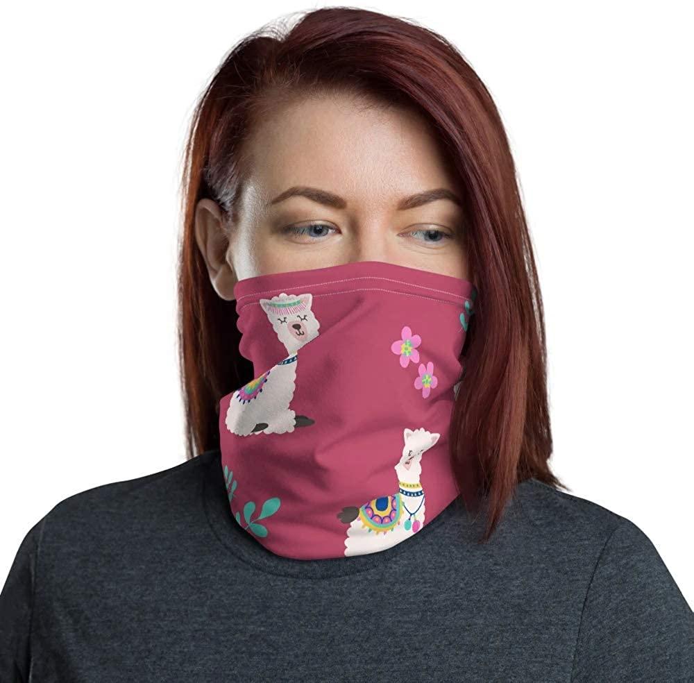 Cute llamas Pattern Neck Gaitor, Tube Bandana, Dust Mask, Reusable Fabric Face Mask Coverings Scarf, Neck Warmer
