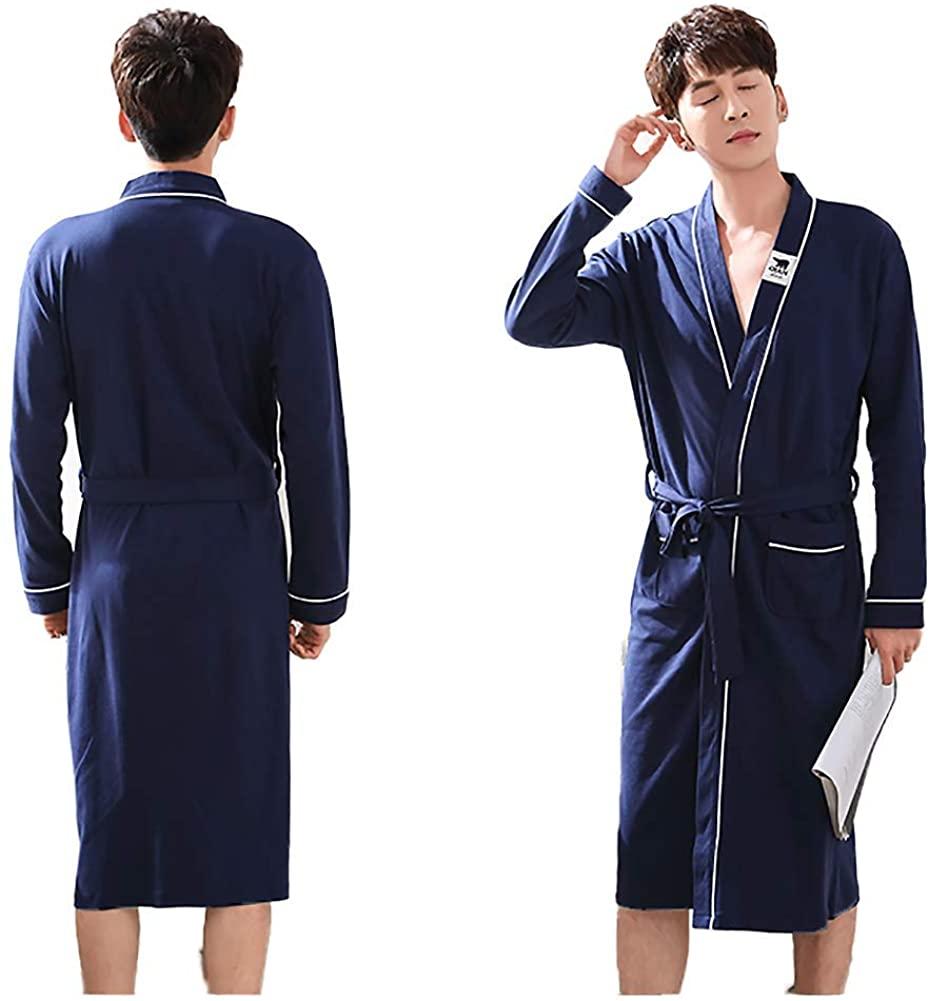 Long-Sleeved Cotton Bathrobe, Cozy Light-Weight Breathable Kimono