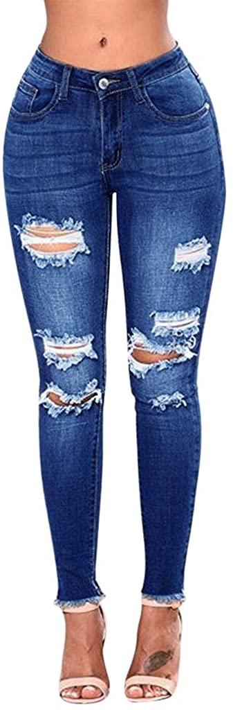 ZhixiaYS Womens Denim Pants Ripped Hole Mid Waist Stretch Jeans Slim Sexy Pencil Pants