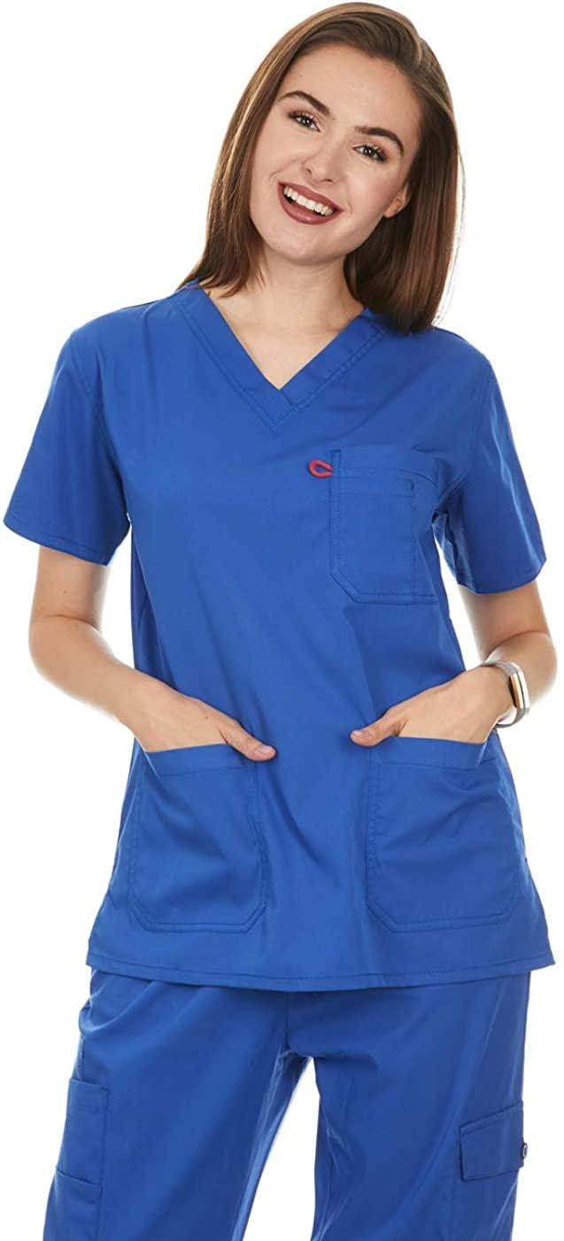 Women's V-Neck Medical Scrub Tops (UFT105) (Royal, X-Large)