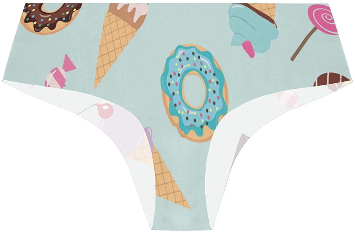 SLHFPX Sweet Donut Cupcake Ice Cream Womens Seamless Underwear Low Rise No Show Thong Pantie