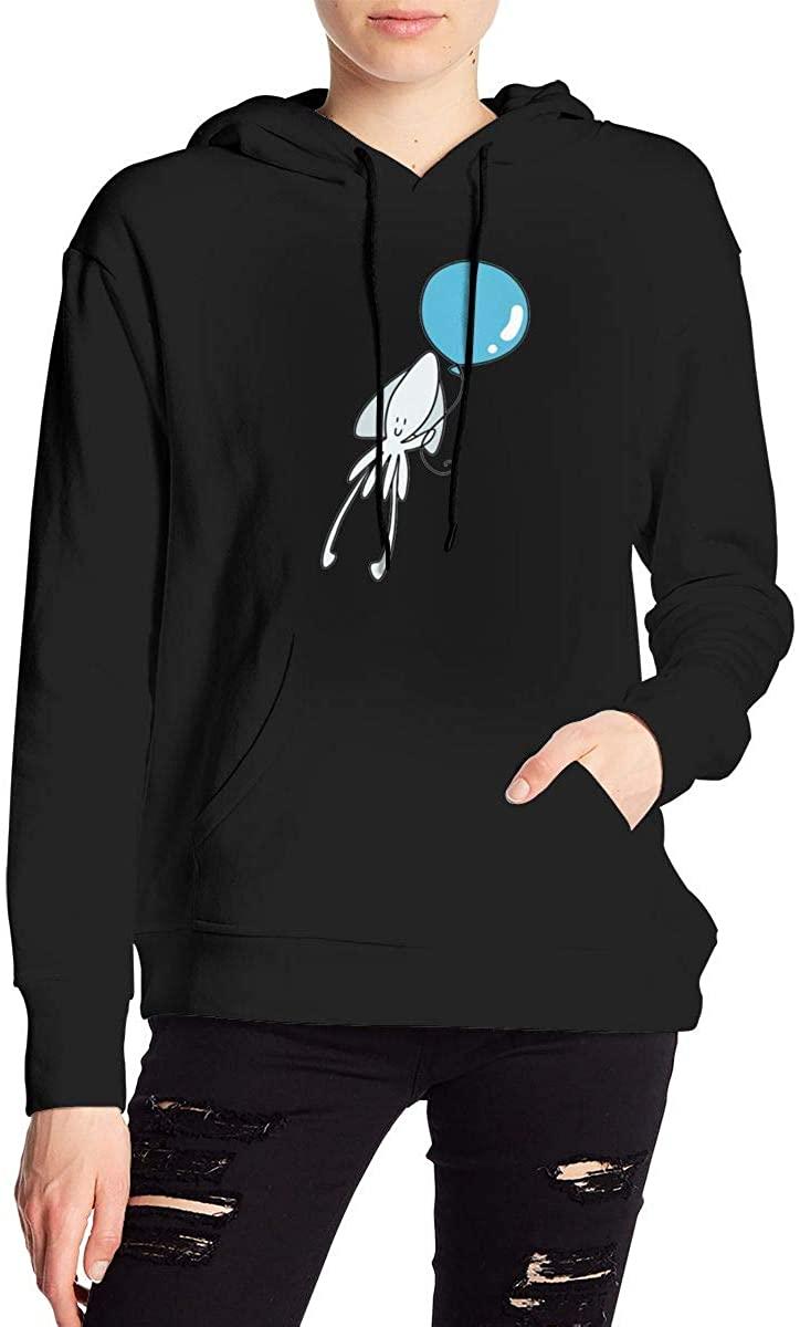 Nbcf White Squid Blue Balloon Womens Long Sleeve Drawstring Pullover Hoodie Pocketed Sweatshirts