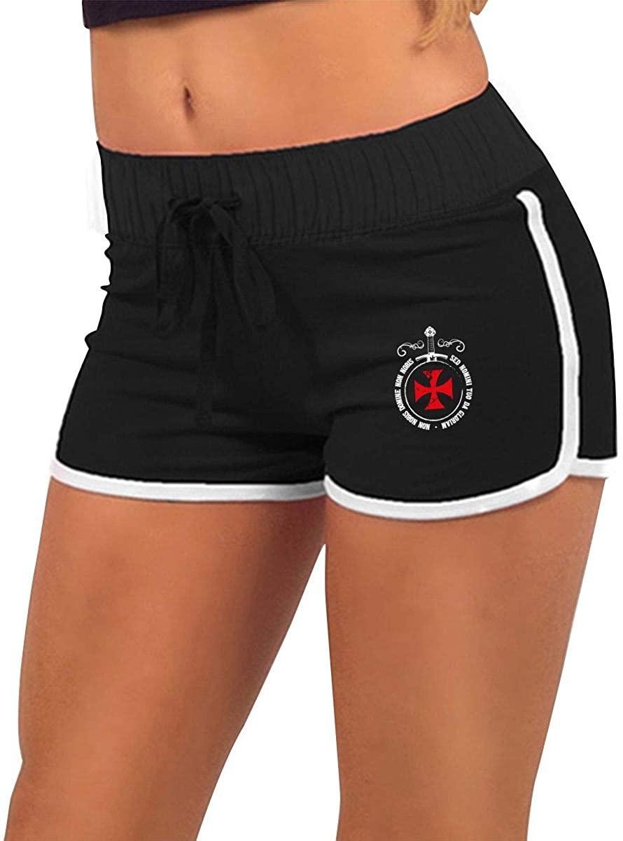 Templar Knight Symbol Women Summer Sexy Low Waist Hot Pants Low Waisted Trousers Drawstring Waist Active Lounge Shorts