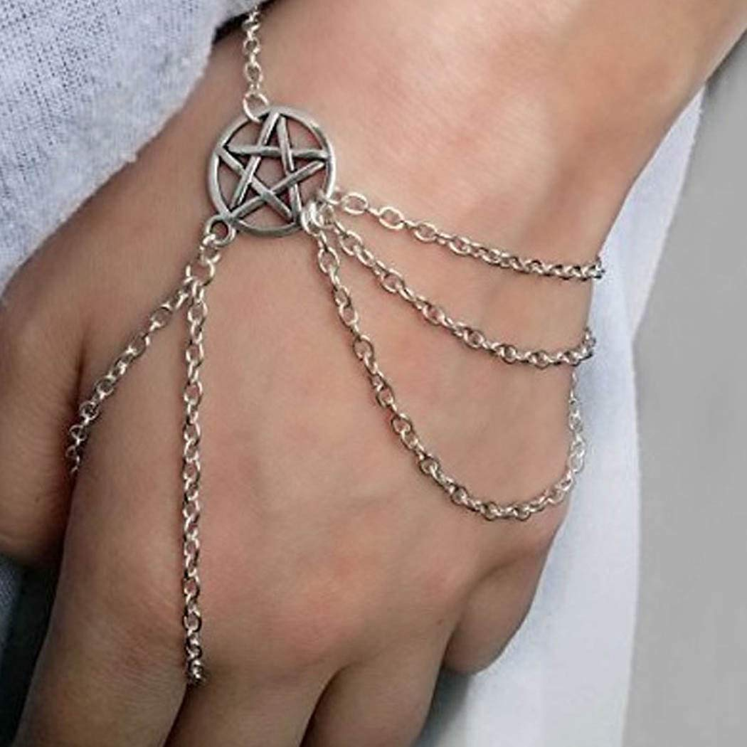 Ajacry Vintage layered Tassel Bracelet Chains Gold Hollow out Five pointed star Chains Simple Finger Chain Adjustable Accessories Jewelry For Women And Girls (silver)