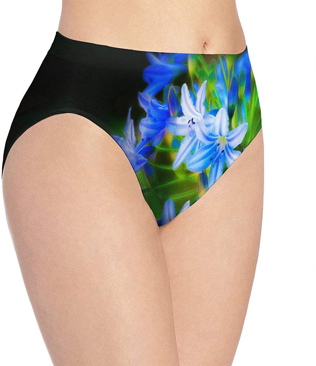 YQINING Womens Seamless Underwear Blue Flowers Bikini Panties Stretch Briefs Laser Cut