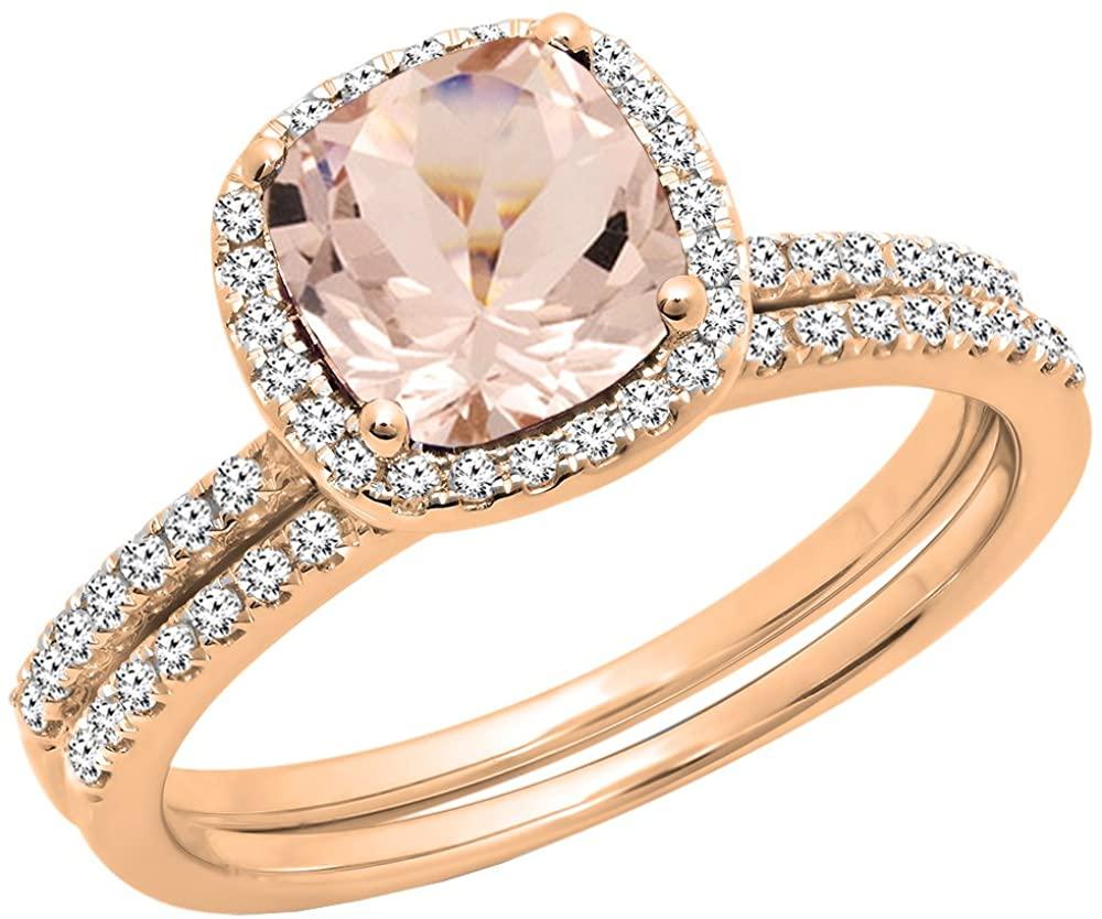 Dazzlingrock Collection 10K Gold 7 MM Cushion Cut Morganite & Round Cut Diamond Ladies Bridal Halo Engagement Ring Set