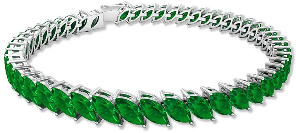 14.4 Ct Marquise Shape Lab Created Emerald Bracelet, Statement Bridal Wedding Bracelet, Certified Gemstone Gold Bracelet, Unique Women Charm Bracelet