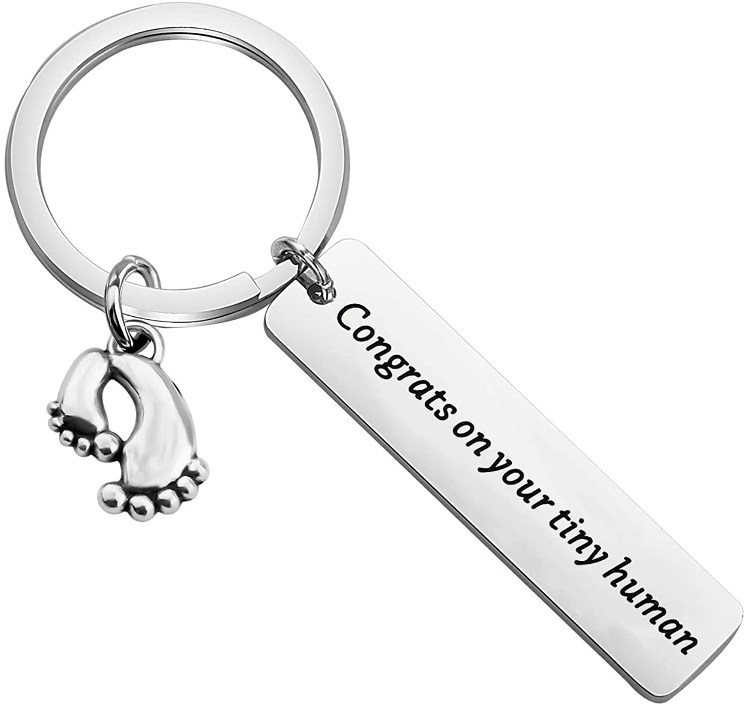 POTIY Pregnancy Gift Mommy to Be Gift Daddy to Be Keychain Congrats on Your Tiny Human Keyring Now Mom Dad Gift Baby Announcement Gift for Mom Dad Grandma Grandpa