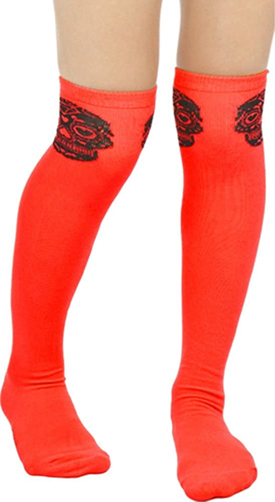 Red and Black Sugar Skull Muerte Thigh High Socks from Sourpuss Clothing,One Size