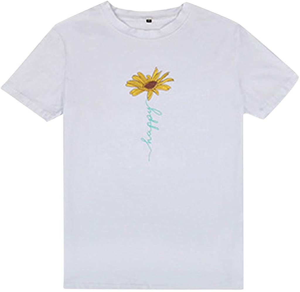 XBYEE Women's T-Shirt Short Sleeves Fashion Daisy Print O-Neck Women Casual Daisy Print All-Round Top Blouses Tops