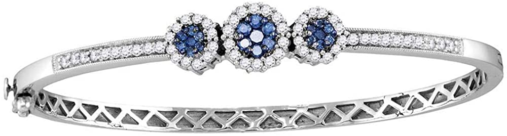 Dazzlingrock Collection 14kt White Gold Womens Round Blue Color Enhanced Diamond Bangle Bracelet 1 Cttw