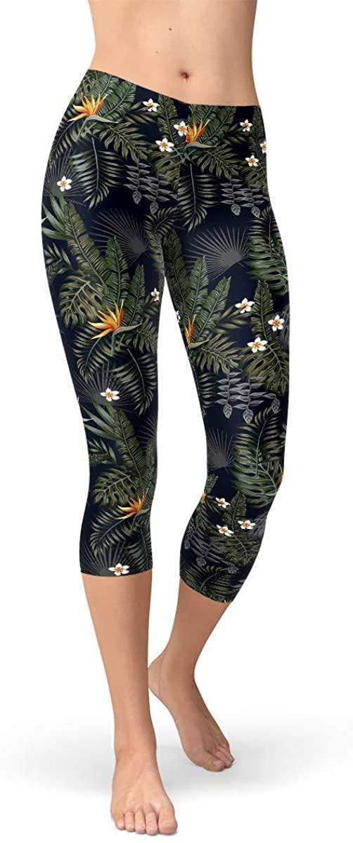 Bird of Paradise Capri Leggings Tropical Exotic Floral Print Mid Waist Calf Length Pants