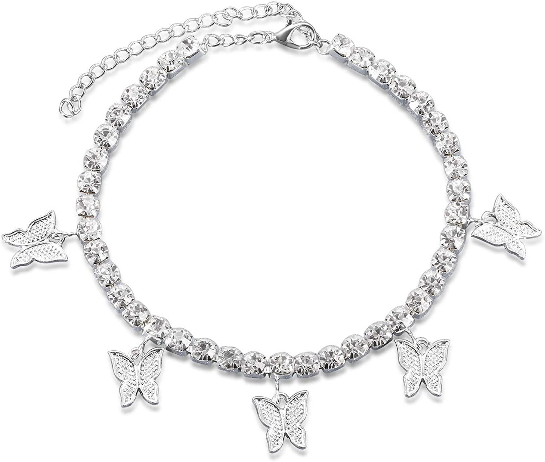 MANBU Rhinestone Tennis Butterfly Anklet - Women Summer Beach Adjustable Anklet Bracelet, Ankle Jewelry for Teens Women
