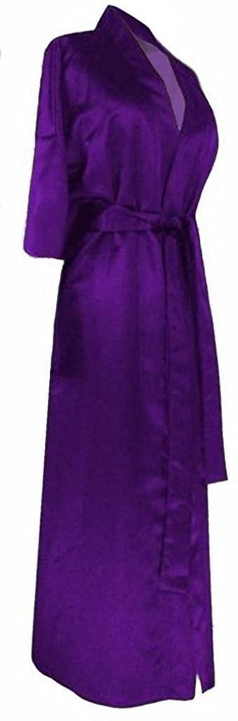 Sanctuarie Designs Women's Dark Purple Satin Plus Size Supersize Robe