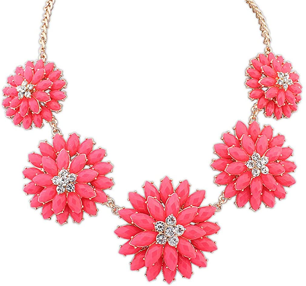 YAZILIND Exaggerated Resin Flower Necklace Women's Chunky Collar Sweater Chains Party Jewelry