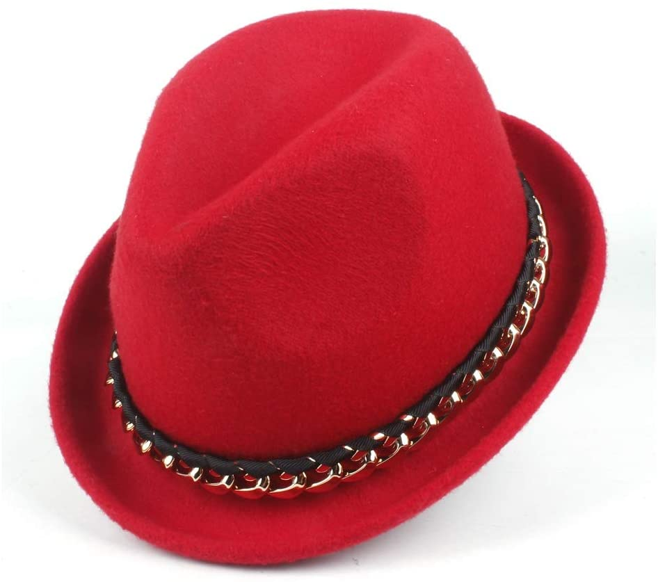Bin Zhang 2019 Unisex Fashion Black Panamanian Jazz Hat Wool Polyester Fedora Hat Leather Metal Chain (Color : Red, Size : 58cm)