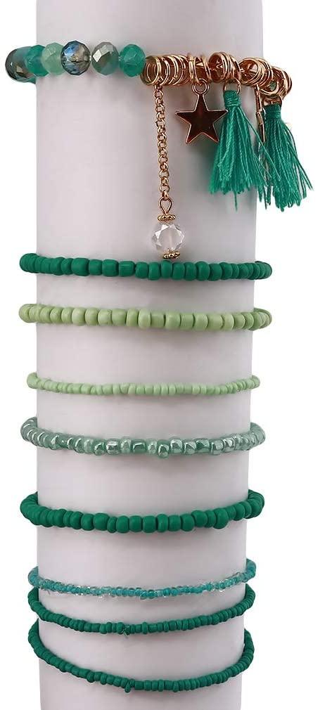 TraveT Stackable Bracelets Set for Women Multilayer Stretch Star Tassel Charm Elastic Beaded Bracelets Beach Bohemian Jewelry,Green