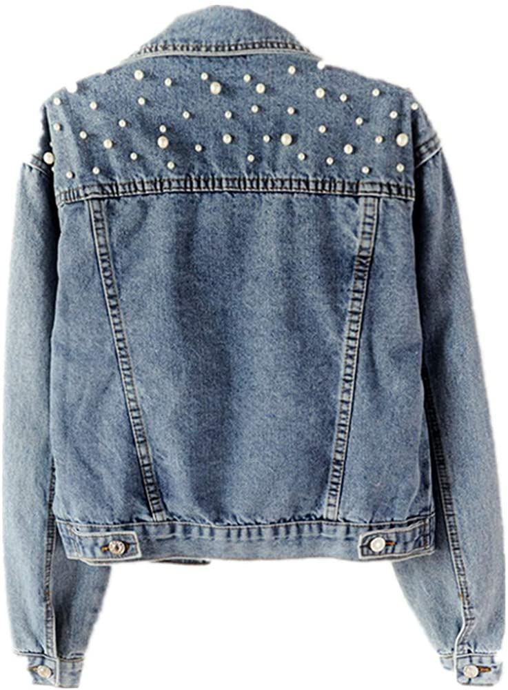Women's Short Denim Jacket Beaded Pearl Loose