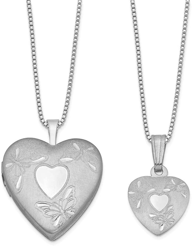 925 Sterling Silver Polished Satin Butterfly Angel Wings Love Heart Locket and Pendant Necklace Set Jewelry Gifts for Women