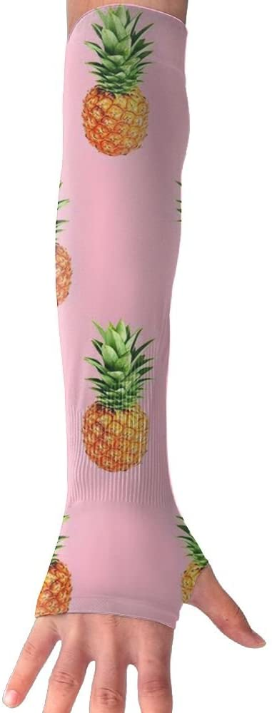 MASDUIH Pineapple Gloves Anti-uv Sun Protection Long Fingerless Arm Cooling Sleeve for Men and Women