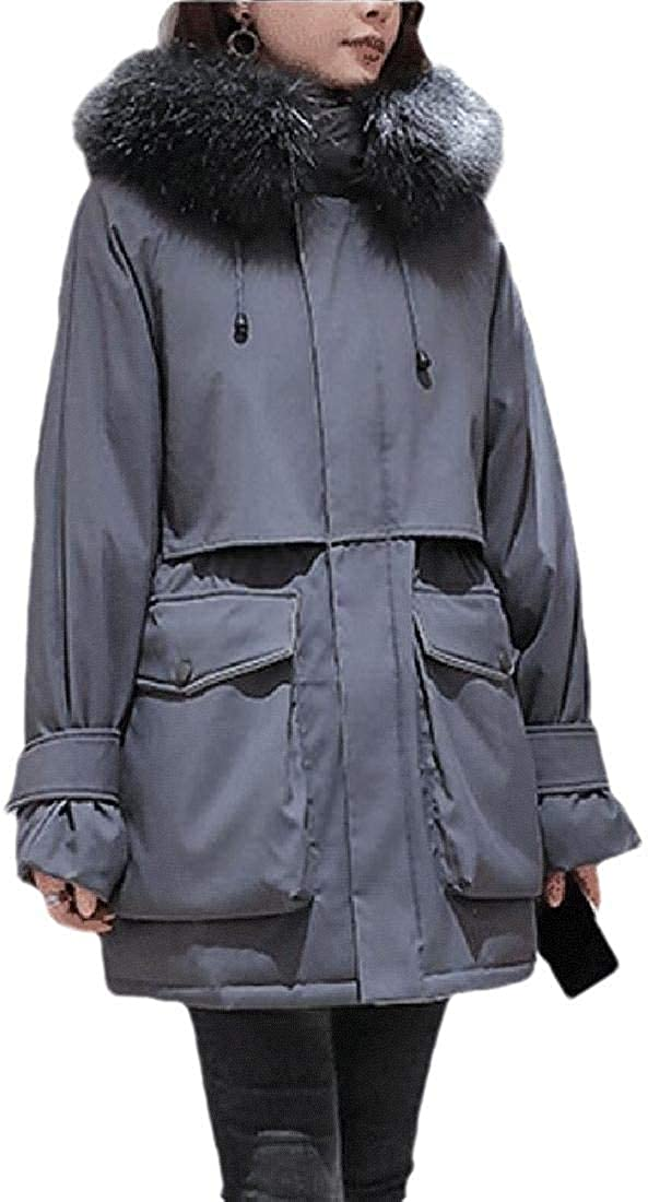 Womens Fur Hooded Thickede Waist Outwear Down Jacket Parker Coat