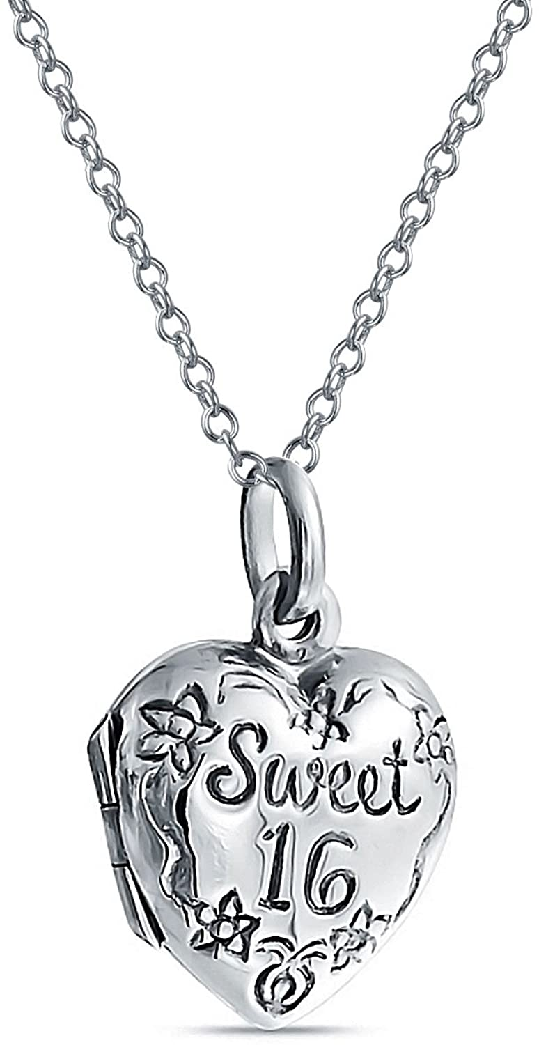 Personalized Engrave SWEET 16 Birthday Locket Necklace Hold Picture Photo Holder Engraved Flower Heart Lockets For Teen