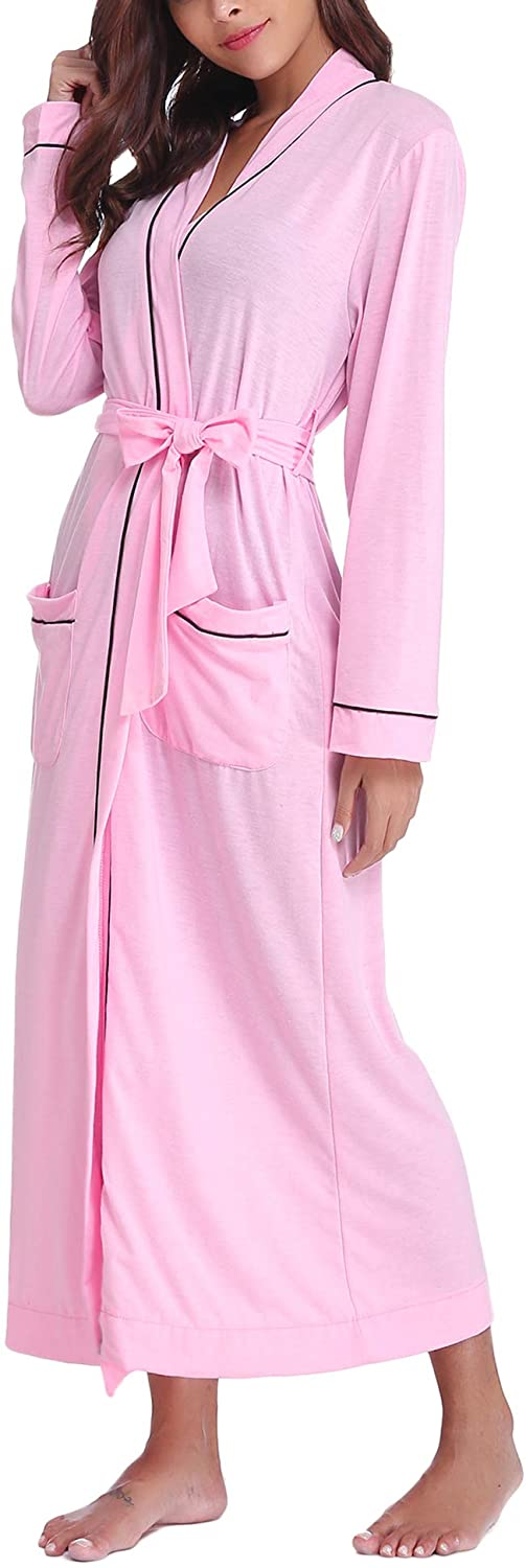 Sykooria Mens Womens Kimono Robes Cotton Knit Lightweight Long Robe Bathrobe Sleepwear V Neck Loungewear