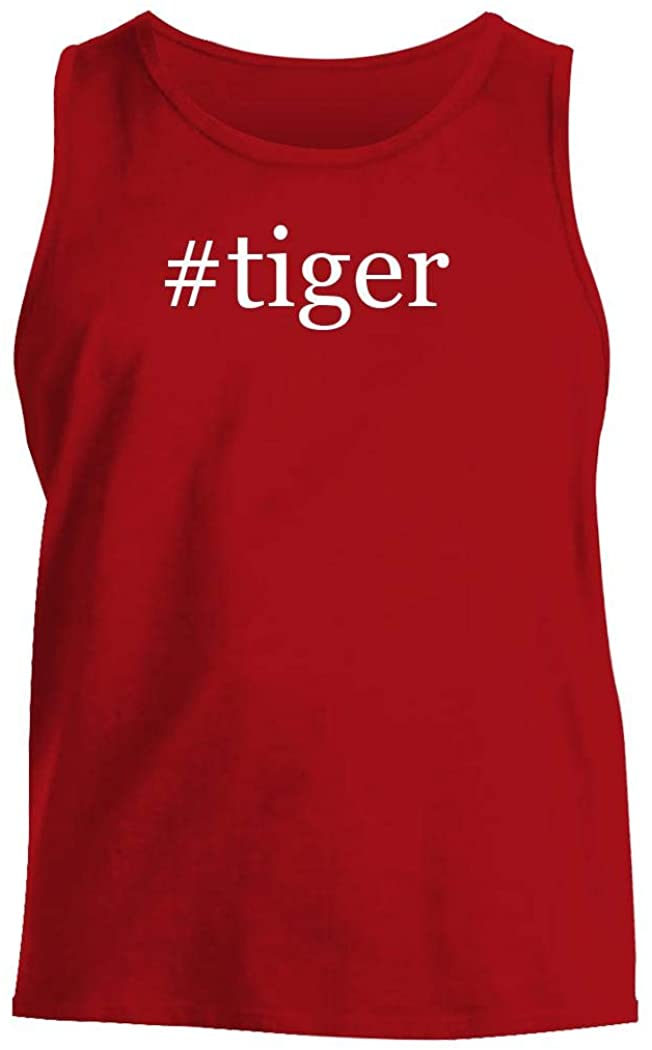 #tiger - Men's Hashtag Comfortable Tank Top, Red, Large