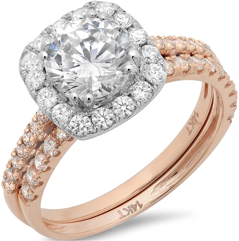 Clara Pucci 2.35 Ct Round Cut Pave Halo Engagement Wedding Bridal Anniversary Ring Band Set 14K Rose White Gold