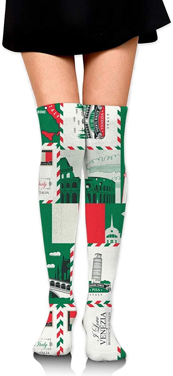 Dress Socks Pattern Theme Italy Flag Long Knee Hose Casual Hold-Up Stockings