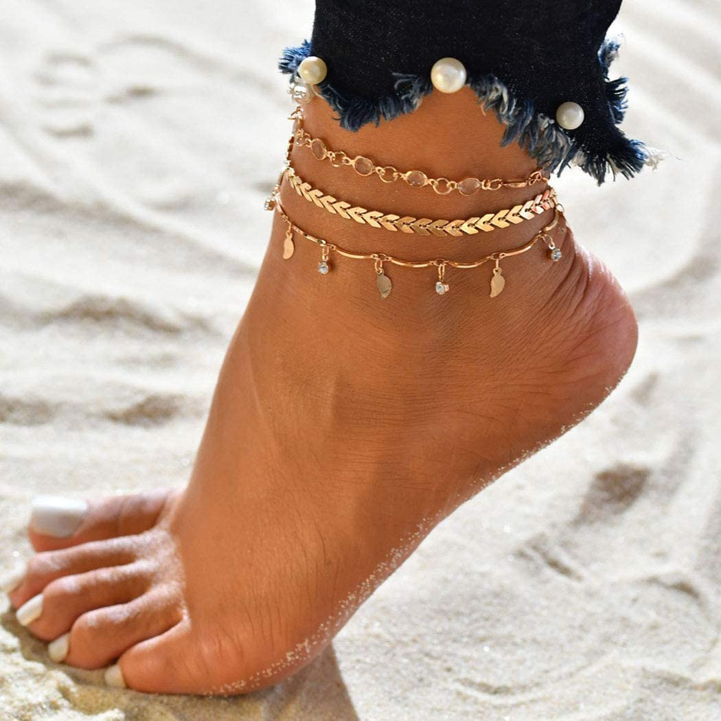 Sethain Boho Layered Anklet Gold Leaf Sequin Crystal Ankle Bracelets Arrow Foot Chain Summer Barefoot Beach Foot Jewelry Ankle Bracelet for Women and Girls