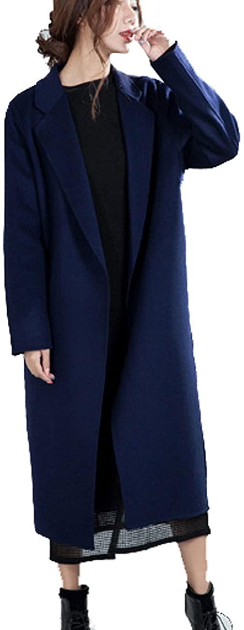 Zoulee Women's Double-Side Wool Cashmere Warm Long Wool Coat