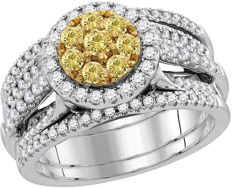 Dazzlingrock Collection 1.05 Carat (ctw) Round Yellow Diamond Bridal Wedding Ring Set 1 ctw, 14K White Gold