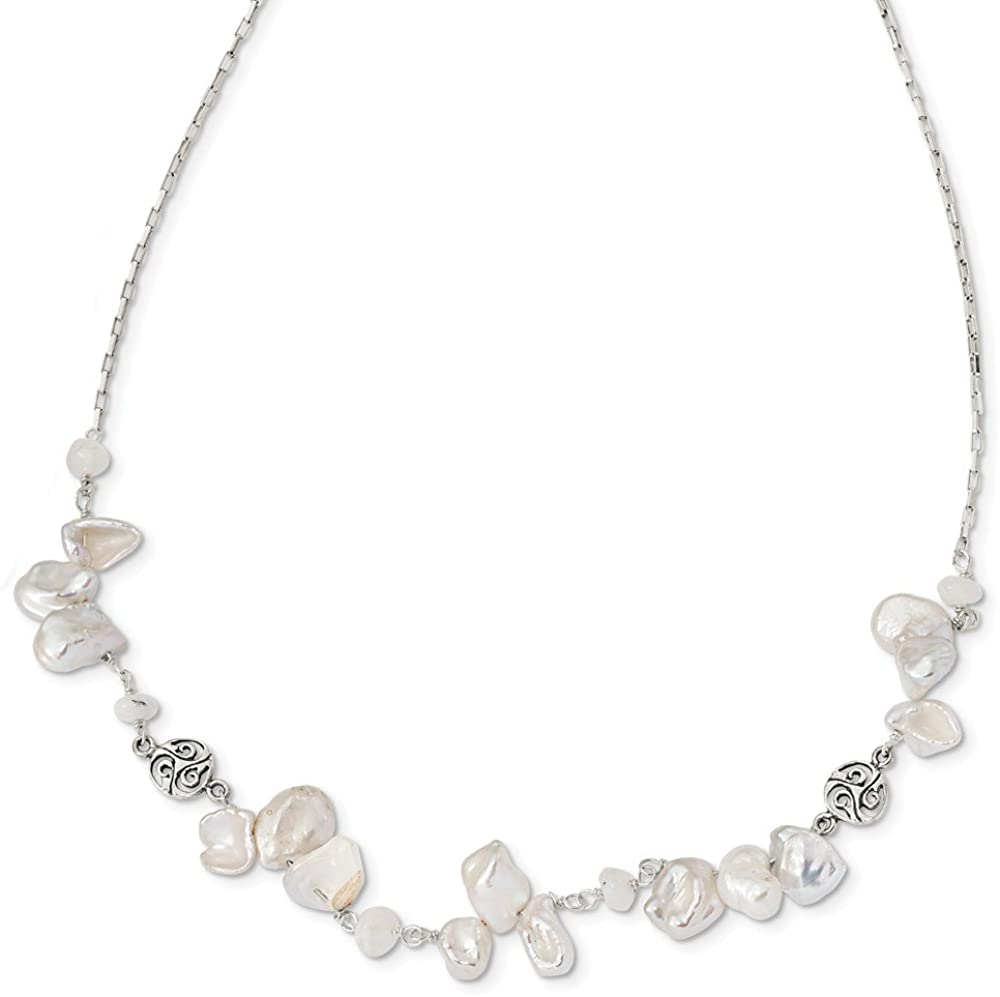 925 Sterling Silver Freshwater Cultured Keshi Pearl and Moonstone 2in Extension Unique Necklace - with Secure Lobster Lock Clasp (Width = 1mm)