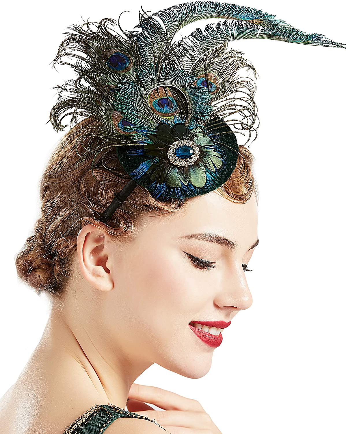BABEYOND 1920s Flapper Fascinator Feather Pillbox Hat Fascinator for Tea Party