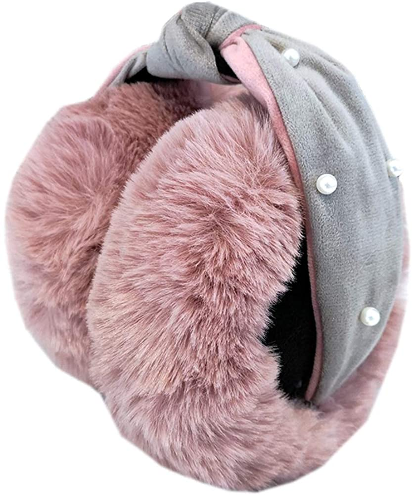 Winter Women Lovely Earmuffs Adjustable Pearl Soft Warm Earmuffs Outdoor Folding Earmuffs