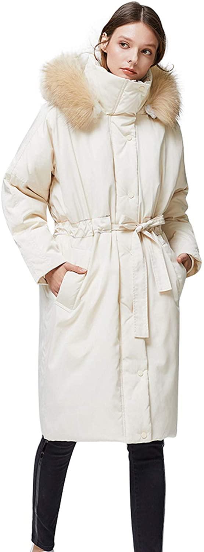 NCDIMS Women's Down Jacket Fur Hooded Long Warm Wind Resistence Winter Outwear Jacket