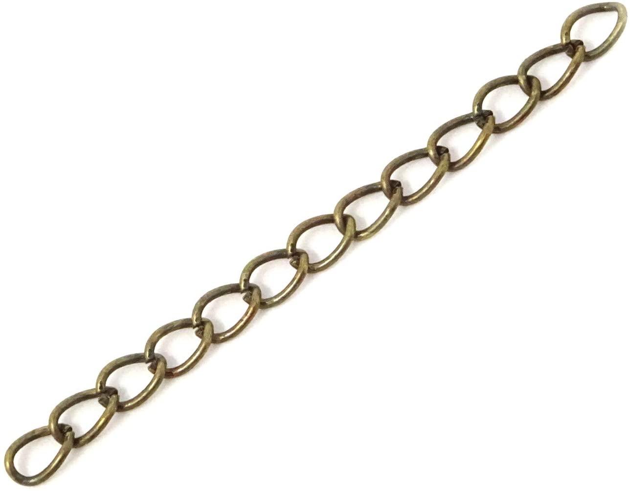 Honbay 100PCS 50mm x 3.5mm Extender Chain for Jewelry Necklace Bracelet Anklet (Bronze)