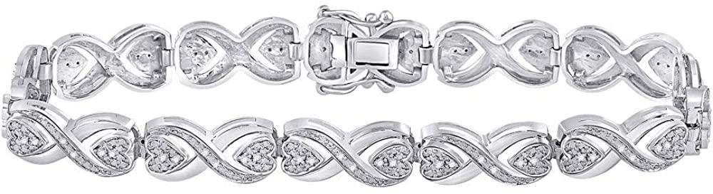 Diamond2Deal Sterling Silver Round Diamond Infinity Bracelet for Women 1/4 Cttw