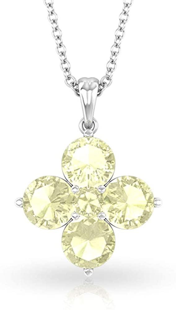 1.69 Carat Lemon Quartz Cluster Flower Pendant, SGL Certified Yellow Birthstone Long Chain Pendant, Antique 14k Gold Bridesmaid Necklace Gifts for Her