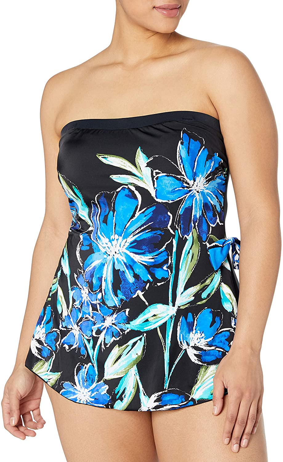 Maxine Of Hollywood Women's Bandeau Sarong One Piece Swimsuit
